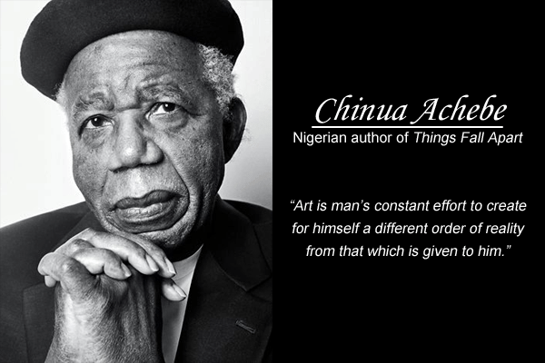 Chinua-Achebe-nigerian-quote-about-arts-and-creating-a-reality-thats-different-from-the-one-thats-given-to-one - feel free to express your art with the world for in doing so, you could end creating a better reality in your life - inspirational, motivational, and inspiring quotations and messages from nigeria