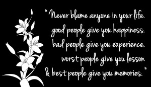 Inspirational and Motivational Quotes, Words, Images, and Messages about Living a Successful Happy Life - Inspirational and Motivational Quotes, Words, Sayings, Messages and Thoughts - Never blame anyone in your life.
