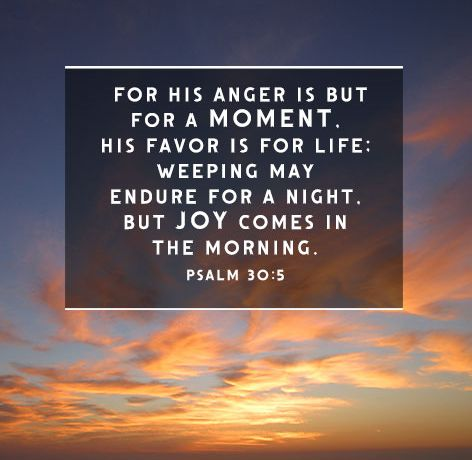 The book psalm 30 5 verse about God's anger and favor - endure - joy