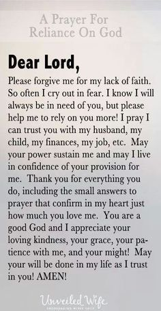 A wife's prayer to God and Jesus for her husband, children, finances, jobs, life, health and more.